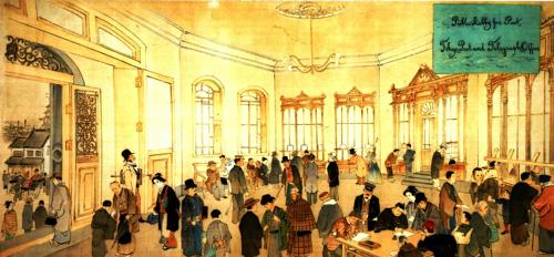 図1 東京郵便電信局の窓口とロビー