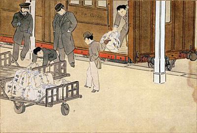 図4 「第十一図 鉄道郵便車の郵便の積卸し」