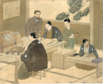 図3 「横浜電信局内部の図」野生司香雪筆