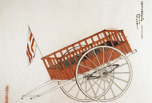 図1 『郵便器具図』郵便物及び小包逓送枠車(函館)