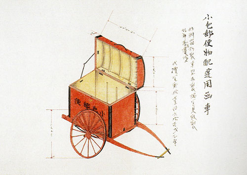 図2 『郵便器具図』小包郵便物配達用函車(青森)