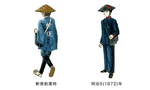 郵便創業時と明治5(1872)年の制服
